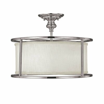 Thorpe 3-Light Semi-Flush Mount with Frosted Diffuser Finish: Polished Nickel, Shade Color: White