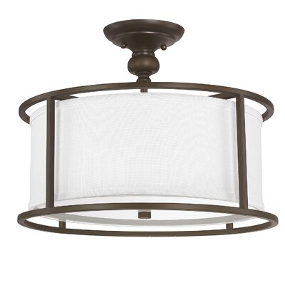 Thorpe 3 Light Semi-Flush Mount with Frosted Diffuser Finish: Burnished Bronze, Shade Color: White