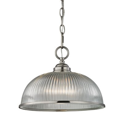 Grosse 1-Light Metal and Glass Bowl Pendant Finish: Brushed Nickel
