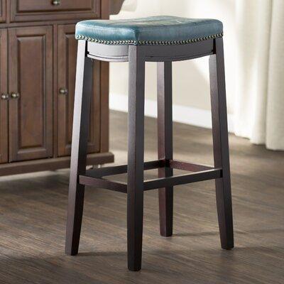 Russett 32 Bar Stool Upholstery: Blue