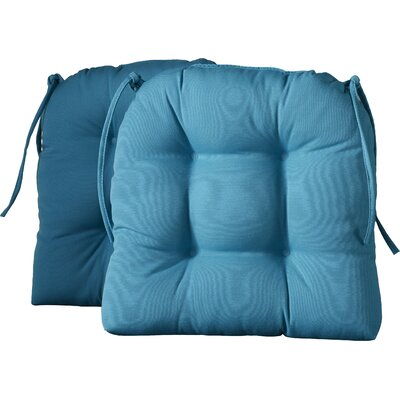 Outdoor Solid Twill Dining Chair Cushion Color: Aqua Blue