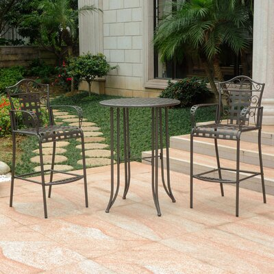 Snowberry 3 Piece Wrought Iron Bar Height Bistro Patio Set Frame Finish: Matte Brown