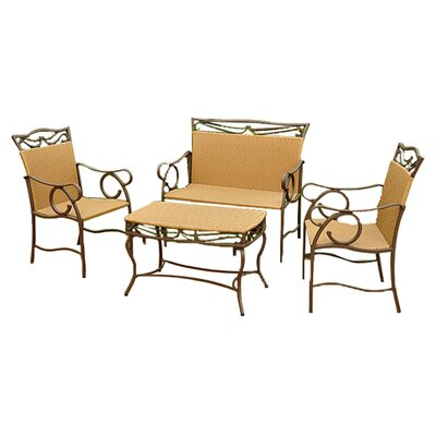 Three Posts Meetinghouse 4 Piece Patio Lounge Seating Group Color: Honey Pecan