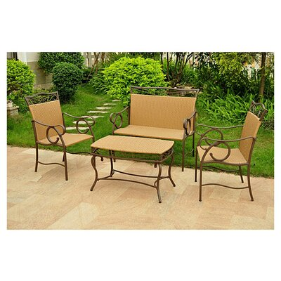 Meetinghouse 4 Piece Patio Lounge Seating Group Color: Honey Pecan