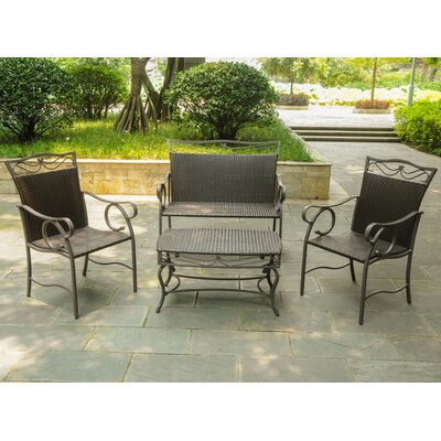 Meetinghouse 4 Piece Patio Lounge Seating Group Color: Chocolate