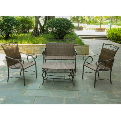 Meetinghouse 4 Piece Patio Lounge Seating Group Color: Antique Brown