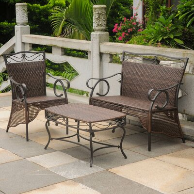 Meetinghouse 3 Piece Lounge Seating Group Finish: Antique Brown