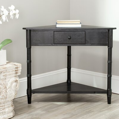 Broadalbin End Table With Storage Color: Distressed Black