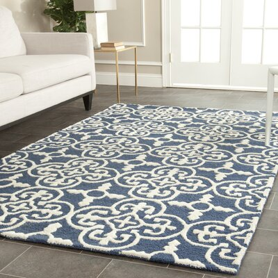 Byron Navy Blue /Ivory Tufted Wool Area Rug Rug Size: Rectangle 4 x 6