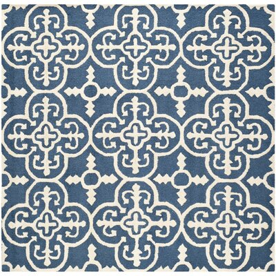 Byron Navy Blue /Ivory Area Rug Rug Size: Square 6