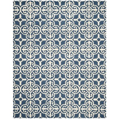 Byron Navy Blue /Ivory Area Rug Rug Size: Square 8