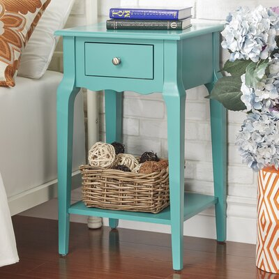 Daltrey 1 Drawer End Table Color: Marine Green