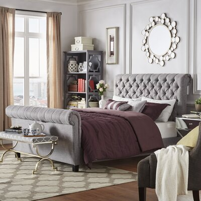 Hinsdale Upholstered Sleigh Bed Upholstery: Gray, Size: Queen