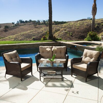 Rockland 4 Piece Deep Seating Group with Cushion Finish: Brown