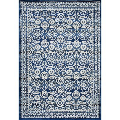 Plumville Dark Blue/Cream Area Rug Rug Size: 5 x 75