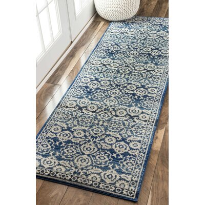 Plumville Dark Blue/Cream Area Rug Rug Size: Runner 28 x 8