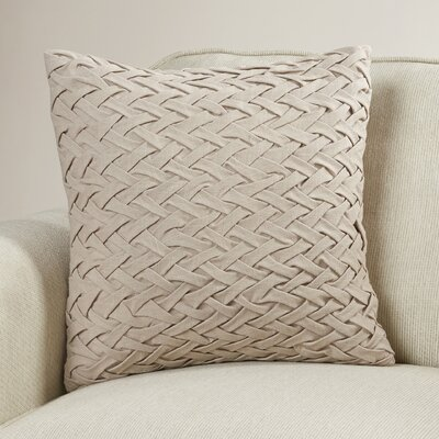 Eastlawn Cotton Throw Pillow Size: 18 H x 18 W x 4 D, Color: Taupe