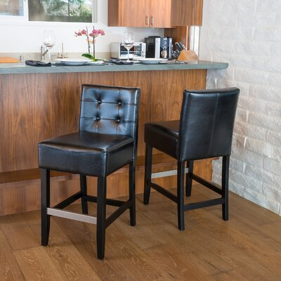 Robinwood 25.5 Bar Stool Upholstery: Black