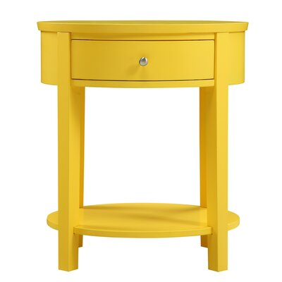 Canterbury End Table with Storage Color: Yellow