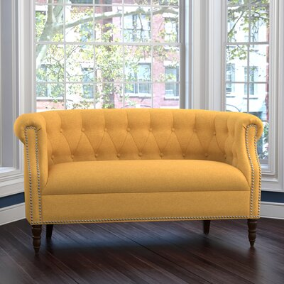 Huntingdon Chesterfield Loveseat Upholstery: Mustard Yellow