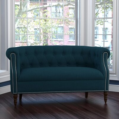 Huntingdon Chesterfield Loveseat Upholstery: Peacock Blue