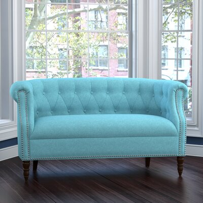 Huntingdon Chesterfield Loveseat Upholstery: Turquoise Blue