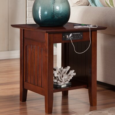 Orangetown End Table with Charging Station Finish: Walnut