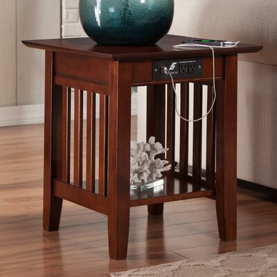 Danube End Table with Charging Station Finish: Walnut