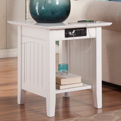 Orangetown End Table with Charging Station Finish: White