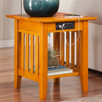 Danube End Table with Charging Station Finish: Caramel Latte