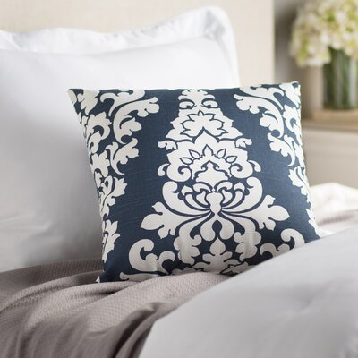 Indoor/Outdoor Damask Cotton Throw Pillow Color: Navy Blue