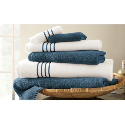 Lapeer Superior Combed Cotton 6 Piece Striped Towel Set Color: Deep Sea Blue