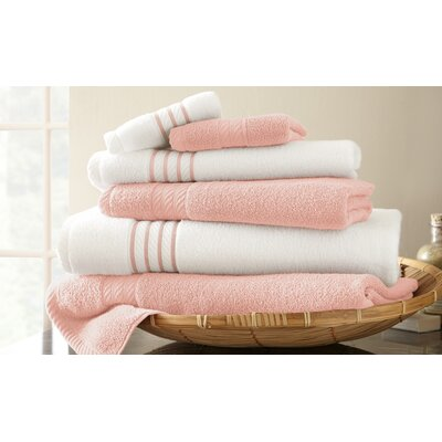 Lapeer Superior Combed Cotton 6 Piece Striped Towel Set Color: Rose Quartz