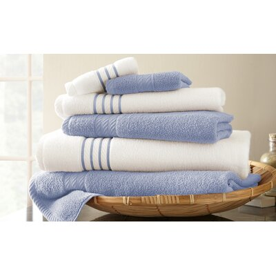 Lapeer Superior Combed Cotton 6 Piece Striped Towel Set Color: Serenity Blue