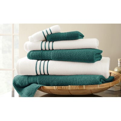 Lapeer Superior Combed Cotton 6 Piece Striped Towel Set Color: Teal