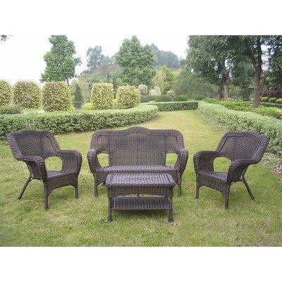 Narron Wicker Resin Steel 4 Piece Lounge Seating Group Finish: Antique Pecan