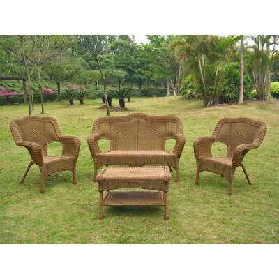 Narron Wicker Resin Steel 4 Piece Lounge Seating Group Finish: Mocha