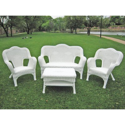 Narron Wicker Resin Steel 4 Piece Lounge Seating Group Finish: White