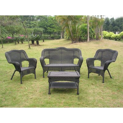 Narron Wicker Resin Steel 4 Piece Lounge Seating Group Finish: Antique Black
