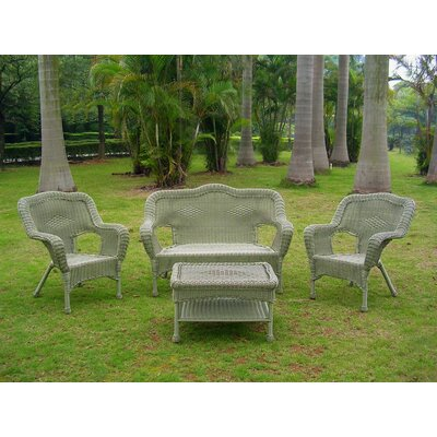 Wyndmoor  Wicker Resin Steel 4 Piece Lounge Seating Group Finish: Antique Moss
