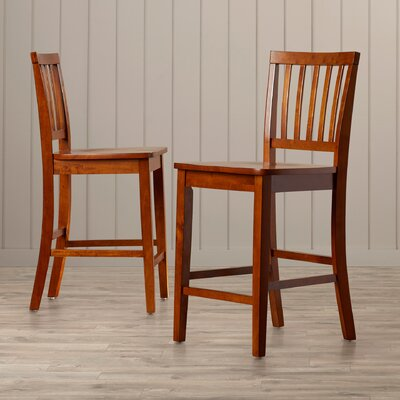 Barrymore 24 Bar Stool (Set of 2) Finish: Multi-Step Rich Cinnamon Oak