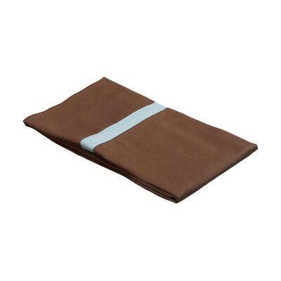 Parish 300TC Cotton Pillowcase Color: Mocha / Sky Blue, Size: King