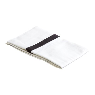 Parish 300TC Cotton Pillowcase Color: White / Black, Size: King