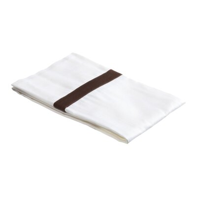 Parish 300TC Cotton Pillowcase Color: White / Chocolate, Size: King