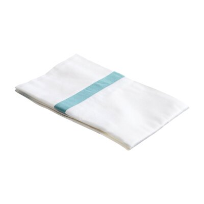 Parish 300TC Cotton Pillowcase Size: King, Color: White / Turquoise