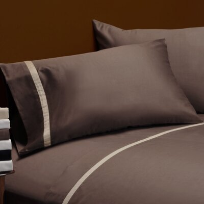 Parish 300TC Cotton Pillowcase Color: Mocha / Honey, Size: King