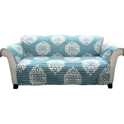 Stroudsburg Box Cushion Sofa Slipcover Color: Blue/White