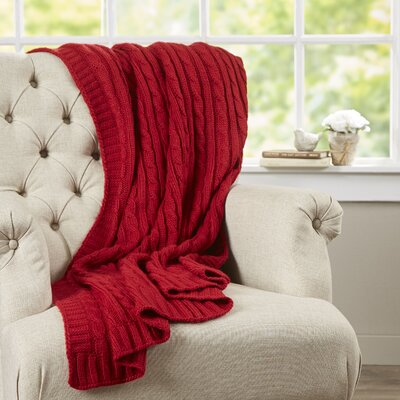 Deluxe Cable Knit Throw Blanket Color: Red