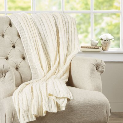 Deluxe Cable Knit Throw Blanket Color: Ivory