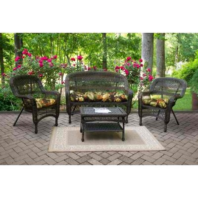 Baden 4 Piece Lounge Seating Group with Cushion Finish: Dark Roast, Fabric: Callie Coffee